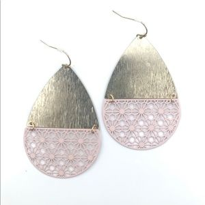Large Gold and Pink Teardrop Shaped Earrings